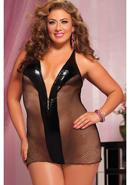 Adults Only- Chemise And Thong -blk Qs